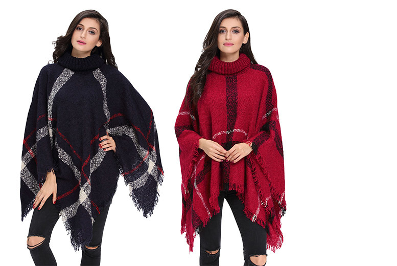 £16 instead of £49.99 (from Who Runs the World) for a knitted poncho - choose from navy or red and save 68%
