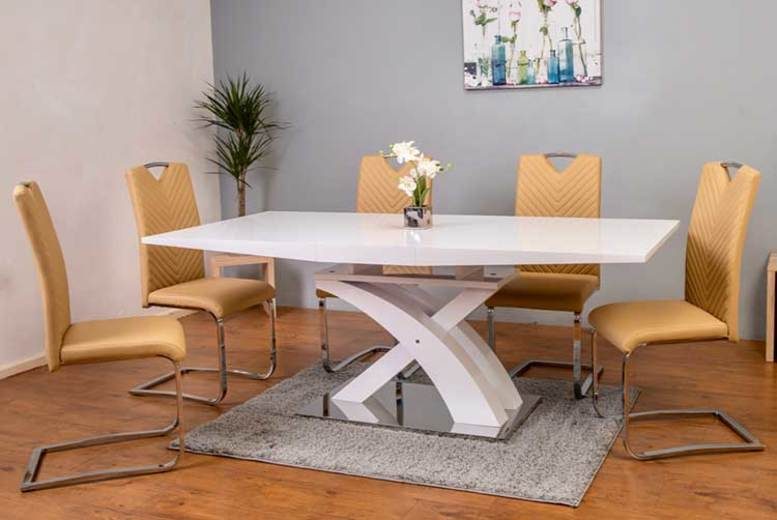 Lyra Dining Set with 4 or 6 Chairs – 2 Colours! (£569)