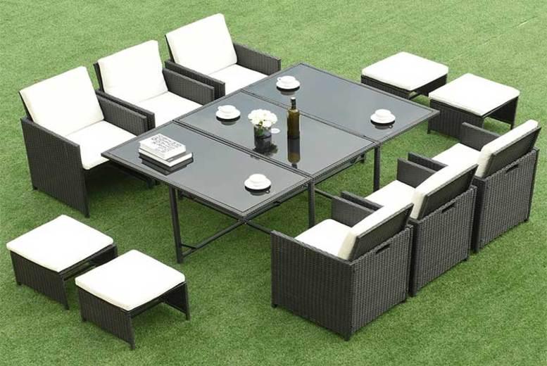 11pc Rattan Outdoor Dining Furniture Set (£409)