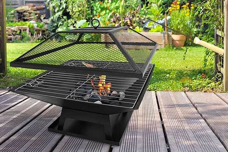Square Fire Pit with BBQ Grill