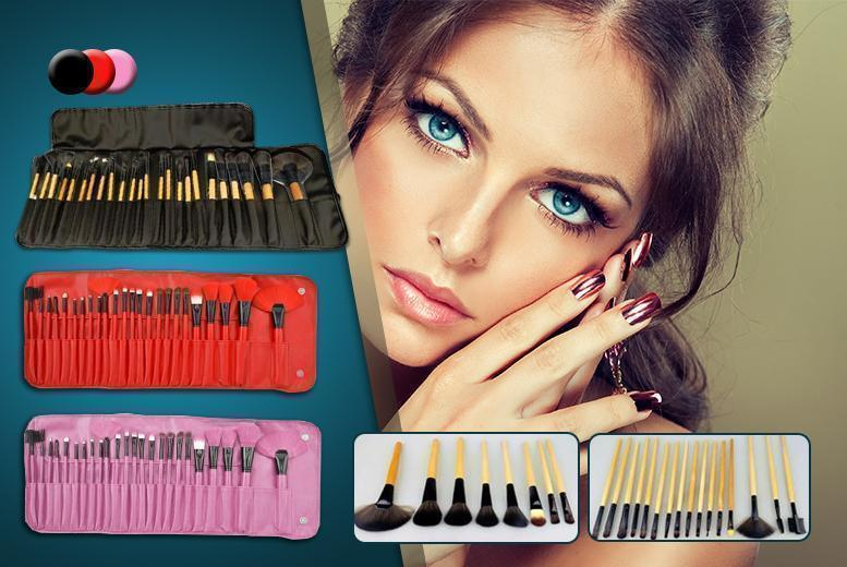 £9.99 instead of £24.99 (from London ExchainStore) for a 24-piece professional makeup brush set with PU leather case - choose from black, red or pink and save 60%