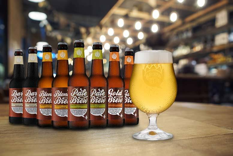 £9.99 instead of £22.29 for a set of eight beers and a crystal engraved beer glass from Brewhive - save 55%