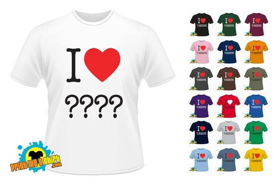 £8.99 instead of £17.99 for a custom I Heart t-shirt from printmeashirt.com – 'heart' anything you like & save 50% + FREE DELIVERY!