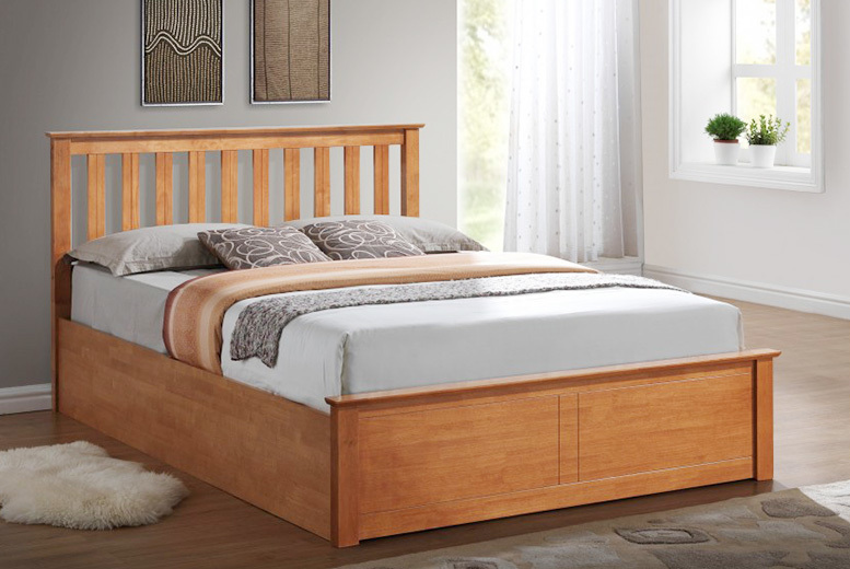 Stanley Wooden Ottoman Double Storage Bed – 2 Colours!
