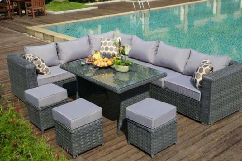 9-Seater Garden Rattan Corner Dining Set