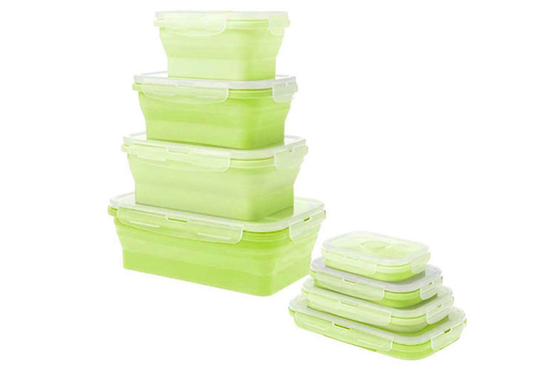 4 x Collapsible Silicone Food Containers  3 Colours!