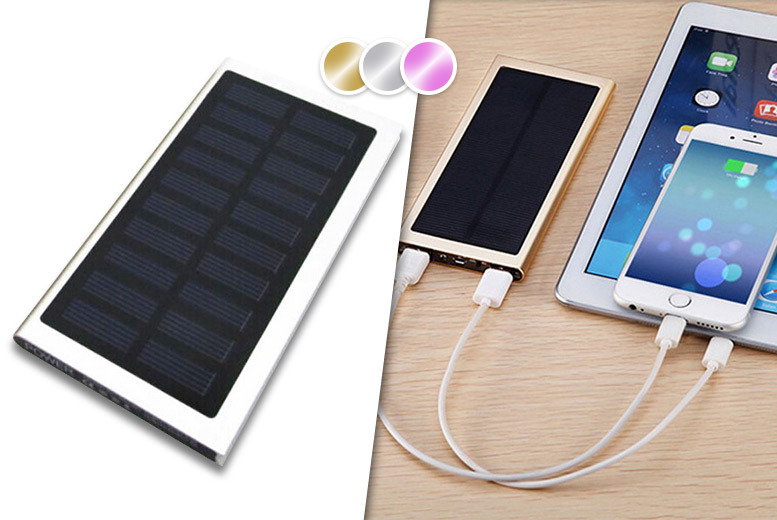 £9.99 instead of £39.99 (from EFMall) for a 9000mAh dual port solar power bank - choose from gold, silver and pink and save 75%