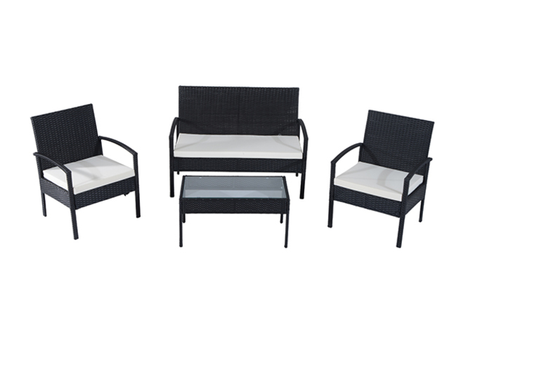 Outsunny Black 4PC Rattan Sofa Set