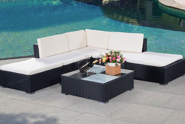 6pc Rattan Outdoor Garden Furniture Patio Corner Set (£289)
