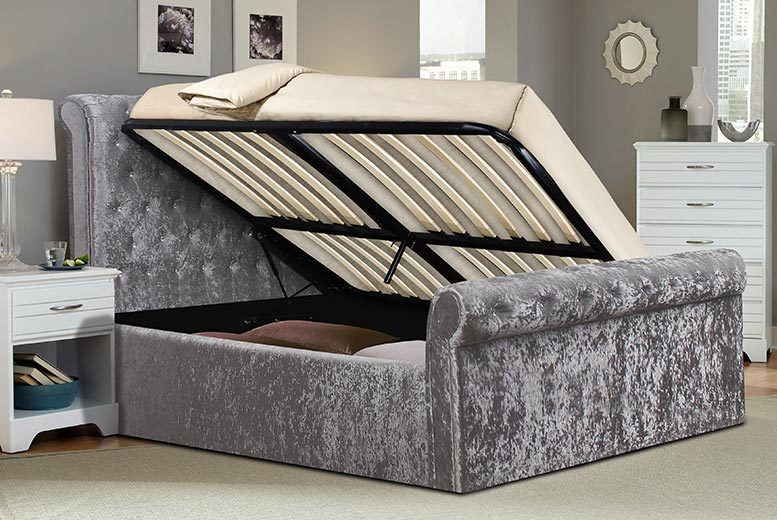 From £239 (from FTA Furnishing) for a small double crushed velvet sleigh bed with side-lift ottoman storage – choose from mattress options