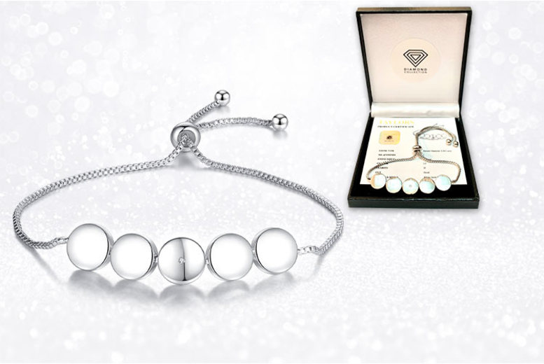 Natural 0.005CT Diamond Adjustable Bracelet with Gift Box