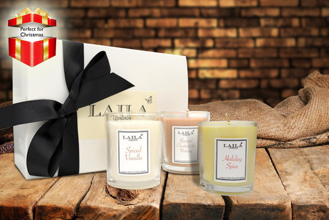 £12.99 instead of £30 (from Laila London) for a 3-piece Christmas scented candle gift set - save 57%