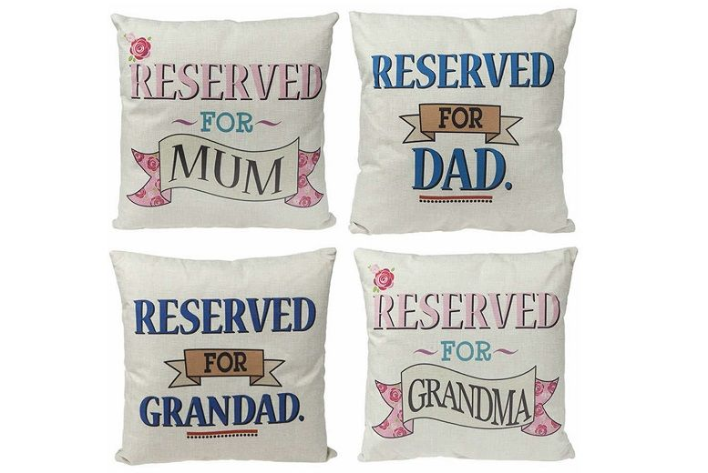 £6.99 instead of £29.99 for a personalised 'reserved' family cushions from London Exchain Store - save 77%