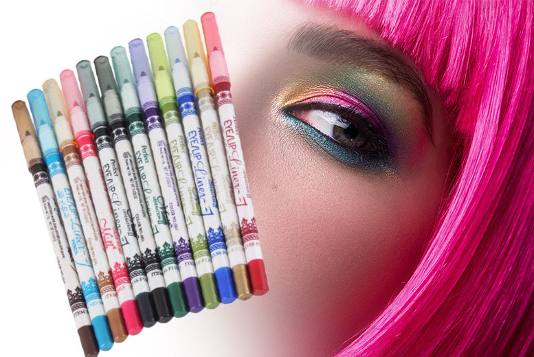 £6 instead of £14.80 (from LaRoc) for a 12-piece waterproof eyeliner pencil set - brighten up your makeup and save 59%