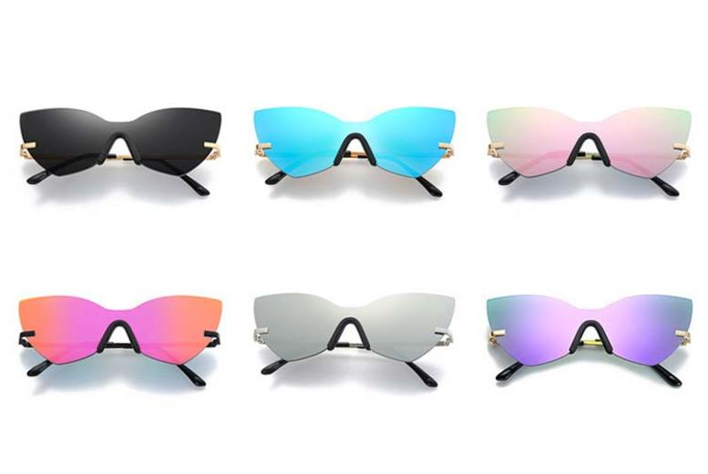 Cat Eye Reflector Sunglasses with Travel Case 6 Colours!