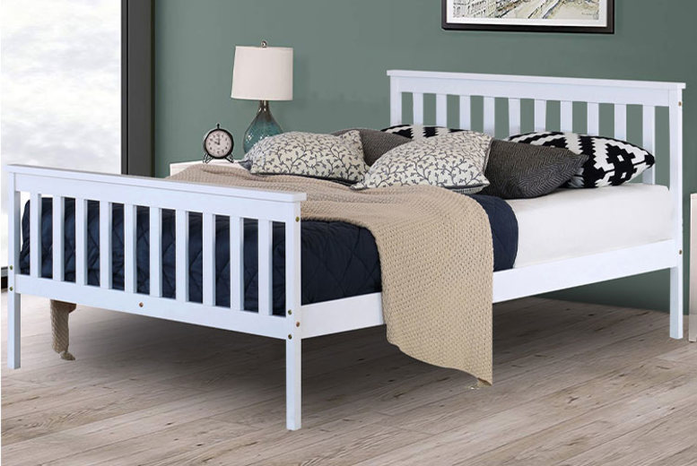 White Pine Double Bed w/ Optional Mattress (£64.99)