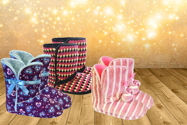 £6 instead of £19.99 (from Urshu) for a pair of fleece lined bootie slippers - choose from a range of designs and save 70%