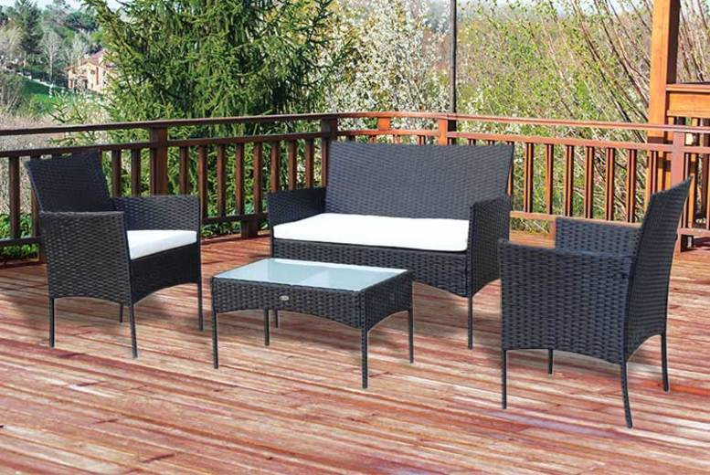 4-Seater Rattan Garden Furniture Set