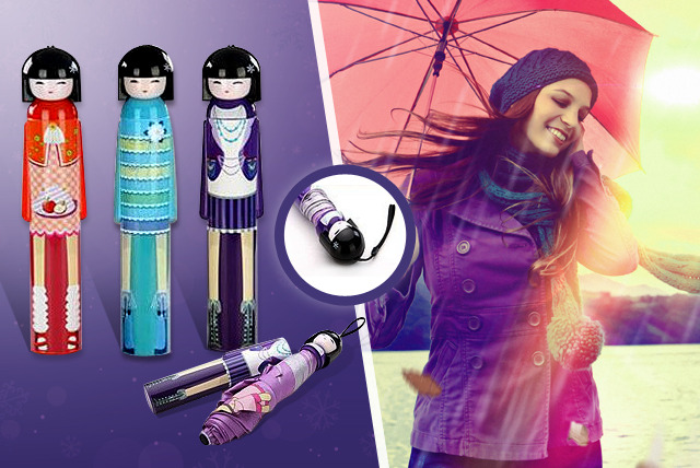 £10 instead of £28 (from 121-Mart) for one kimono doll umbrella, or £16 for two kimono doll umbrellas in red, blue or purple - save up to 64%