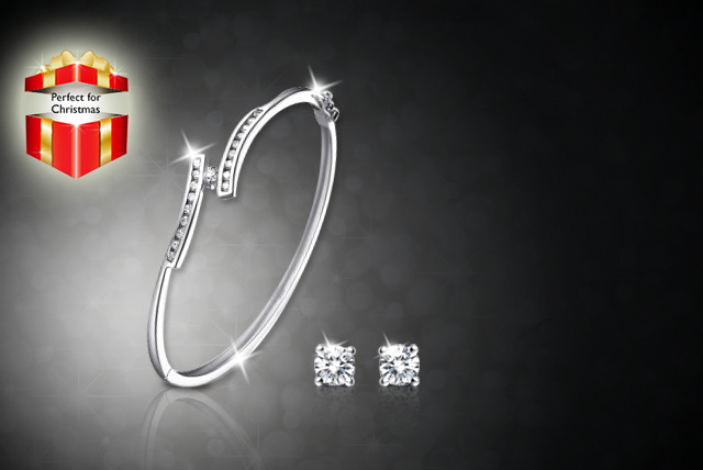£10 instead of £50 (from Magic Diamonds) for a Swarovski Elements bangle, or £12 with matching earrings - save up to 80%