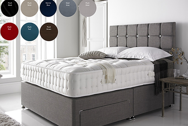 From £259.99 for a divan bed with square diamante headboard & optional drawers from Dreamtouch Mattresses LTD – save up to 57%