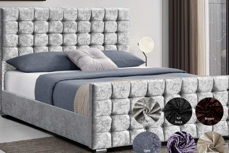 Bedstead Bed with Cubed Headboard – 9 Colours & 4 Sizes! (£289.99)