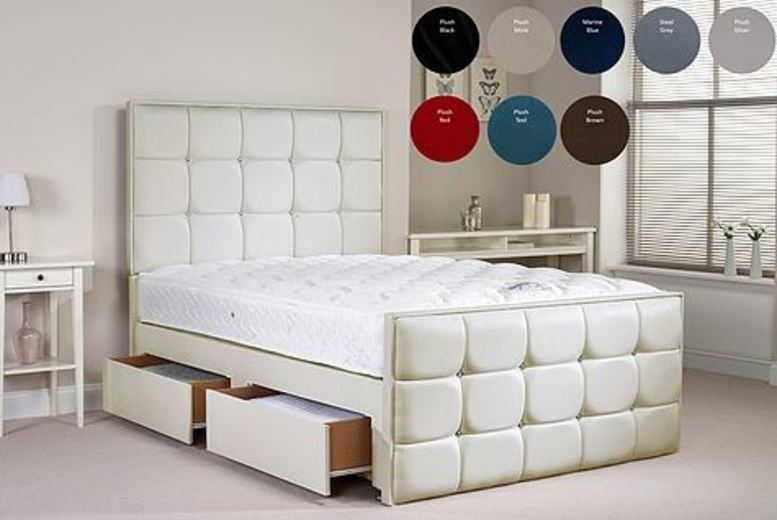 Divan Bed with Upholstered Headboard – 4 Sizes! (£289.99)