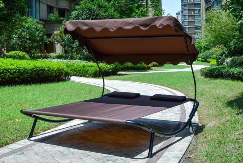 Double Sun Bed Lounger with Canopy  5 Colours!