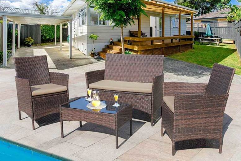 4-Seater Rattan Garden Furniture Set - 3 Colours!