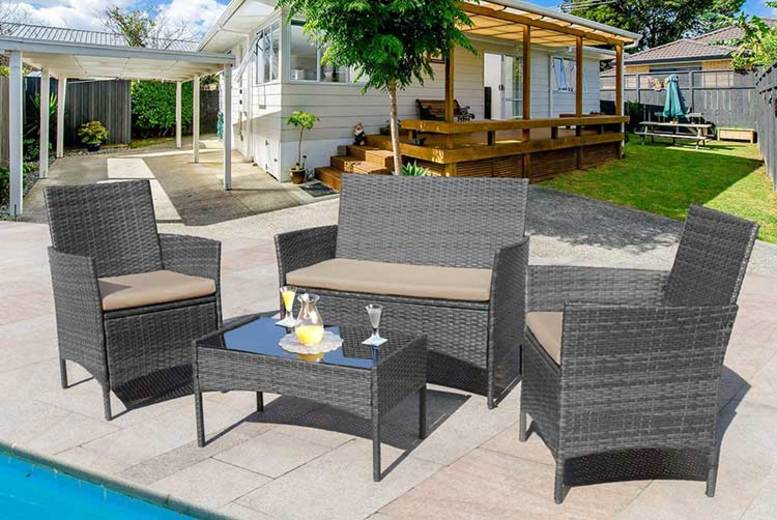 4-Seater Rattan Garden Furniture Set – 3 Colours! (£89)