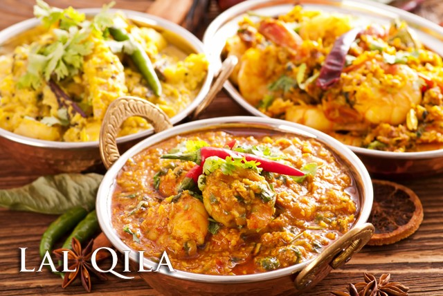£18 instead of up to £44.80 for a 2 course meal for 2, inc. starter, main and rice or naan plus a glass of beer or wine each at Lal Qila - save up to 60%