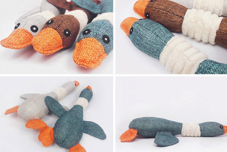 Squeaky Duck-Shaped Dog Chew Toy - 3 Colours!