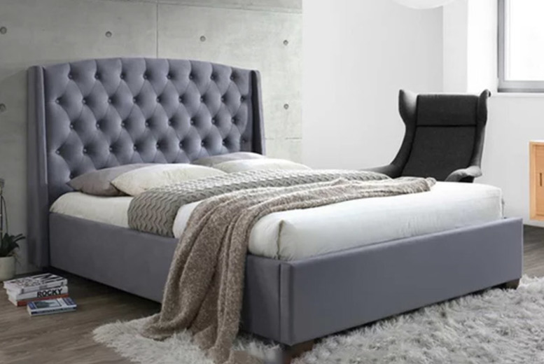 From £229 instead of £499.99 (from FTA Furnishing) for a luxurious grey velvet bed with wingback headboard, £329 for a bed with a 15cm memory foam mattress, or £399 for a bed with a 25cm mattress! - save 54%