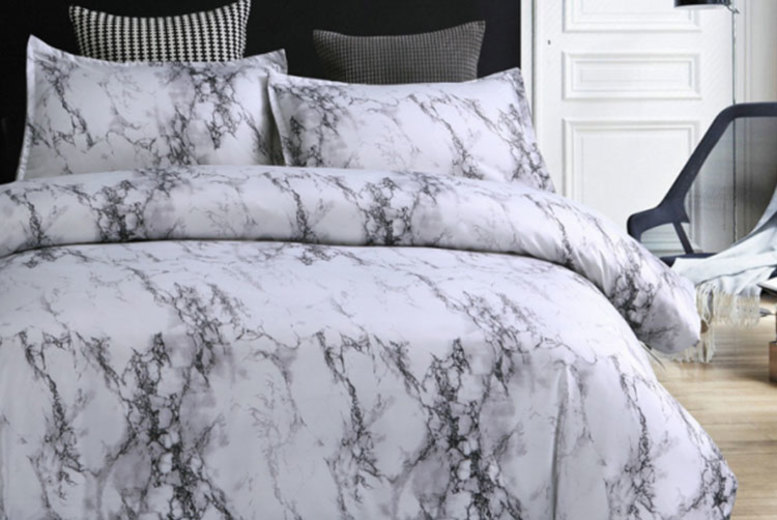 From £12 instead of £59.99 (from Backtogoo) for a marble-effect bedding set – choose from four sizes and save up to 80%