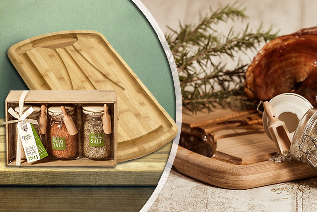£19.99 instead of £65 (from Homeware Ltd) for a bamboo carving board and 3 gourmet flavoured salts - save 69%