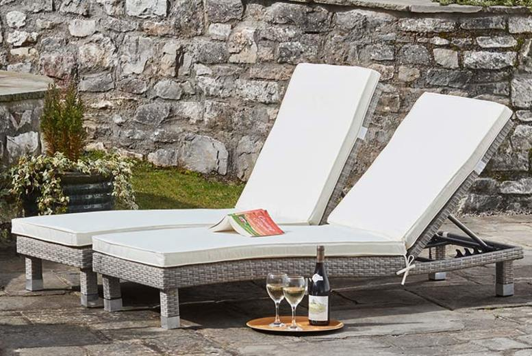 Rattan Sun Lounger Twin Pack with Optional Covers – 4 Colours! (£179)