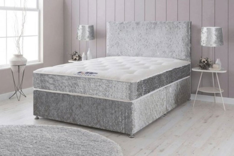 From £69 instead of from £570 (from Dining Tables) for a crushed velvet divan bed with memory spring mattress & plain headboard – choose from six sizes with optional drawers, and save up to 88%