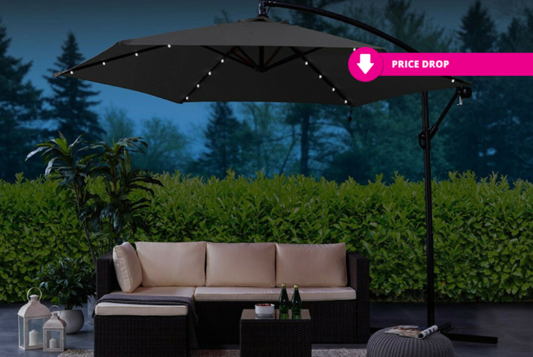 LED Lined Garden Cantilever Parasol  2 Colours!