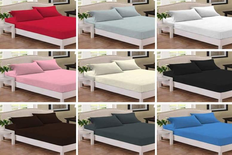 Percale Pillowcase or Fitted Sheet – 5 Sizes & 10 Colours! (£4.99)