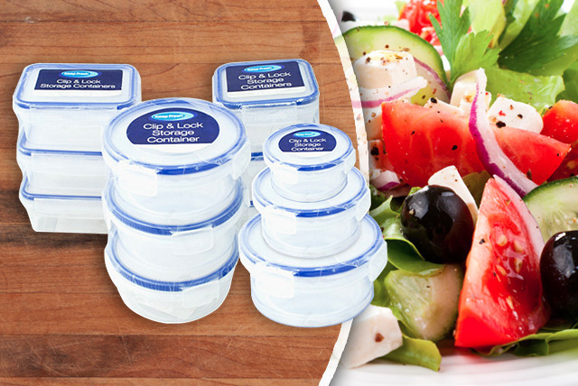 £5.99 instead of £19.99 (from eGlobal Shoppers) for a 12-piece clip & lock storage container set - store your food and save 70%
