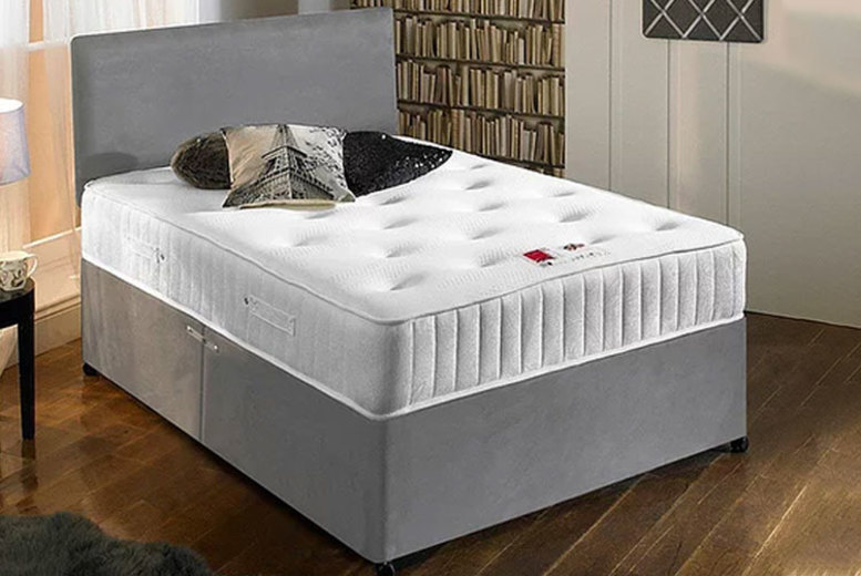 Suede Divan Bed Set w/ Memory Foam Mattress – 6 Sizes & 3 Colour! (£89)