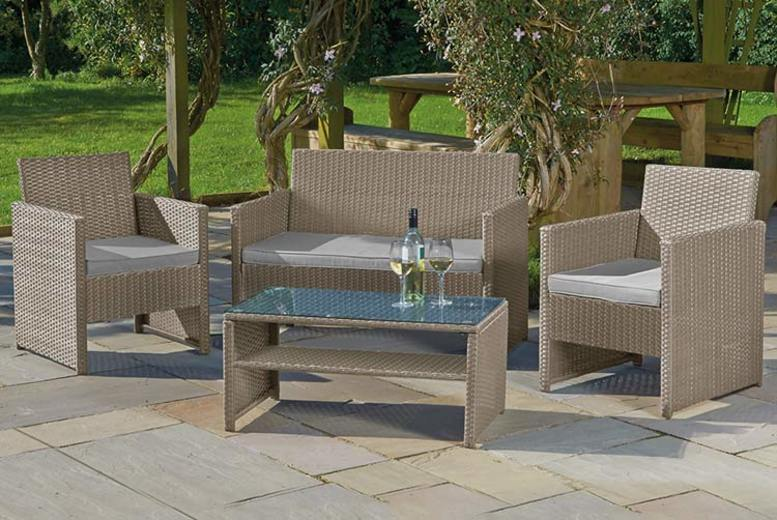 4pc Rattan Garden Lounge Set & Optional Cover (£149)