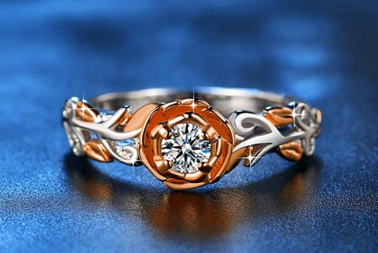 TwoTone Gold Rose Ring Made with Crystals from Swarovski