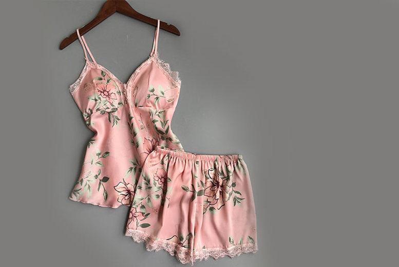 Floral Satin Pyjama Set  4 Sizes & 3 Colours!