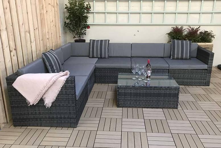Evie Grey Rattan Corner Sofa (£529)