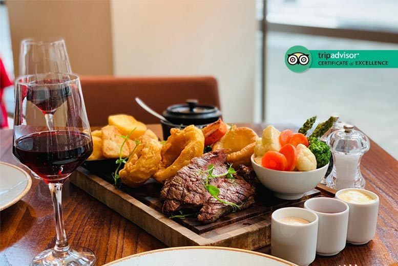 Restaurants & Bars: Roast Board Dining & Bottle of Wine for 2 @ The Hilton Canary Wharf