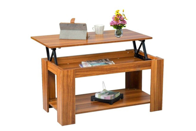 Lift Up Top Coffee Table w/ Storage & Shelf  4 Colours!