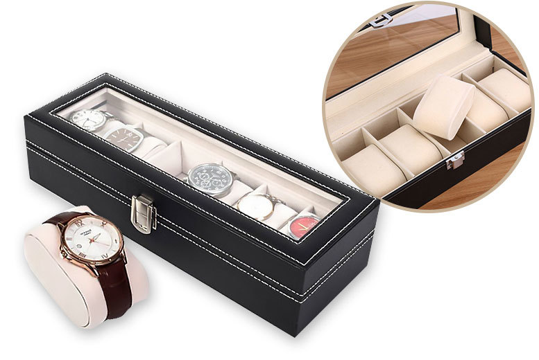 £12 instead of £39.99 (from EFMall) for faux leather watch box – display up to 6 watches and save 70%