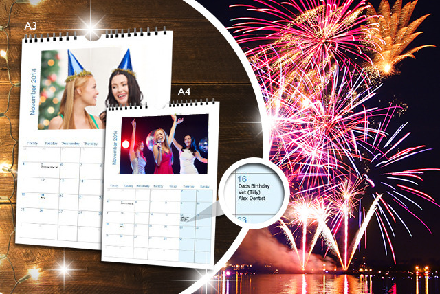 £5 instead of £14.99 (from Great Photo Gifts) for an A4 personalised calendar, or £7 for an A3 calendar - save up to 67%