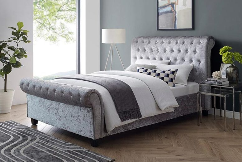£199 (from the Furniture Department) for a double crushed velvet bed, £239 for a king, £269 for a double and mattress and £299 for a king and mattress – save up to 86%